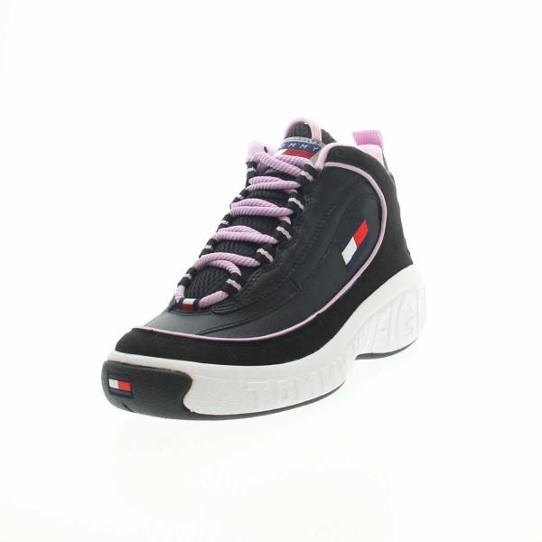 Tommy Jeans EN0EN00749 0GS Heritage Sneaker Damen Schnürschuh Schwarz